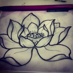 Beautiful lotus tattoo sketch