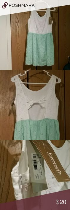Brand new dress from Francesca's!!! white on top and mint green/seafoom bottom. hits above the knees, very cute detail. Francesca's Collections Dresses Mini