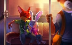 Обои на рабочий стол. Обои fluffy, friends, Judy Hopps, cartoon, fox, Zootopia, smartphone, subarashii, police, animals, animated movie, tie, Nick Wild, cinema, film, Disney, by tsaoshin, animated film, sugoi, rabbit, movie, bus скачать.