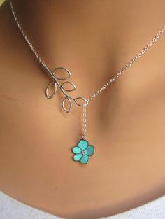 Aqua Orchid Flower Necklace. Love it.
