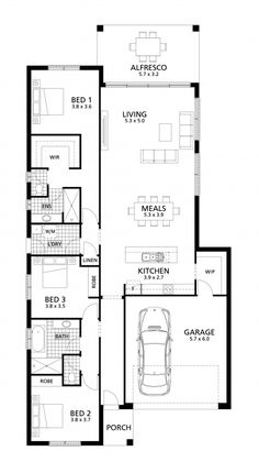 The popular Mirabella 229 design comprises three bedrooms, the master suite positioned toward the rear of the home with immense walk in robe and ensuite. Narrow House Designs, Narrow House Plans, Modern House Floor Plans, New House Plans, Dream House Plans, Home Room Design, Home Design Plans, Single Storey House Plans, Master Suite Bedroom