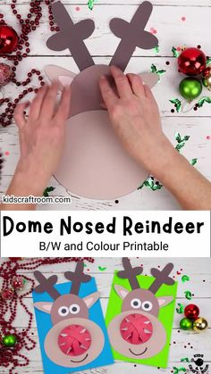 This 3D Dome Nosed Reindeer craft is such a fun Christmas craft for kids! Mount your Rudolf The Red Nosed Reindeer craft on the wall or write on the back to turn them into jolly reindeer Christmas cards! They're easy to make with the printable reindeer template which comes in full colour and B/W. #kidscraftroom #kidscrafts #christmascrafts #reindeercrafts #rudolftherednosedreindeer