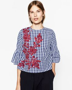 Image 1 of EMBROIDERED CHECKED TOP from Zara- size large