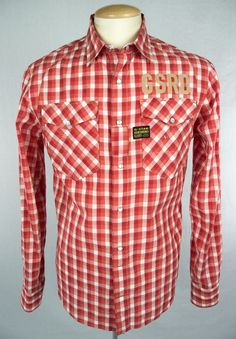 G-STAR RAW Mens Shirt Size L Long Sleeve Red White Check #GStar #ButtonFront