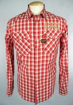 a3fb7d7522b G-STAR RAW Mens Shirt Size L Long Sleeve Red White Check  GStar