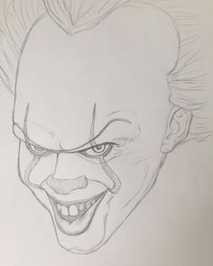 Pennywise preliminary sketch for a new project. Creepy Sketches, Joker Drawings, Creepy Drawings, Dark Art Drawings, Pencil Sketches Easy, Halloween Drawings, Art Drawings Sketches Simple, Pencil Art Drawings, Cool Drawings