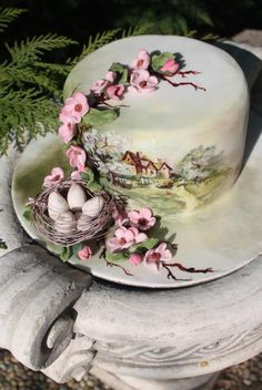 Easter and spring Pretty Cakes, Beautiful Cakes, Amazing Cakes, Big Wedding Cakes, Wedding Cake Designs, Candy Cakes, Cupcake Cakes, Spring Cake, Painted Cakes