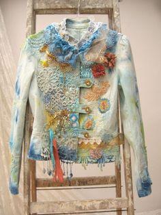 Upcycled Jeans Jacket, Wearable Art, Hand Embroidered, Art to wear, Boho style, Denim jacket, Hippie Jacket, Upcycled Clothing, Art Denim