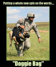 This MWD is being carried by his handler to an awaiting helicopter as they train for a jump.  photo courtesy of The Brigade.com