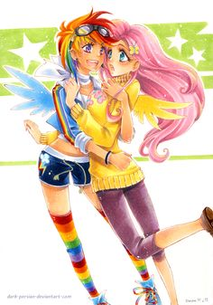 Rainbow Dash and Fluttershy as humans. I hate this type of art style, but it's rare to find good humanoid artwork of the My Little Pony cast, which I like more. I also don't get why everyone draws human-Fluttershy with enormous boobs.