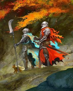 Art featuring medieval knights and their fantasy/sci-fi counterparts. Concept Art World, Fantasy Concept Art, Fantasy Armor, Fantasy Character Design, Dark Fantasy Art, Character Art, Medieval Knight, Medieval Fantasy, Armadura Medieval