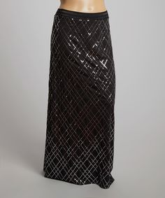 Loving this Bellino Black & Silver Sequin Maxi Skirt - Plus on #zulily! #zulilyfinds