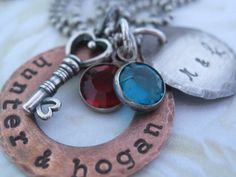 Personalized Hand Stamped Copper and Sterling Silver by gomommy