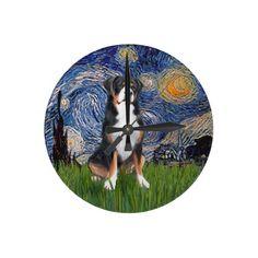 Starry Night - Greater Swiss Mountain dog Round Clocks