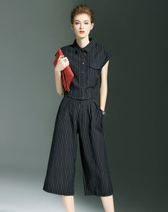 #AdoreWe CYANINE SEA Black Stripes Pockets Two Piece Suit - AdoreWe.com