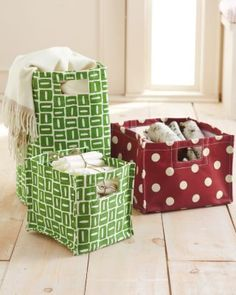 Printed Canvas Storage Bins  These would be very easy to make, insert cardboard or thin plywood to make more stable and sturdy.