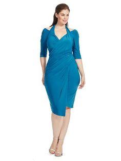cd1dbb9d1d6 Plus Size KIYONNA Foxfire Faux Wrap Dress in Blue Faux Wrap Dress
