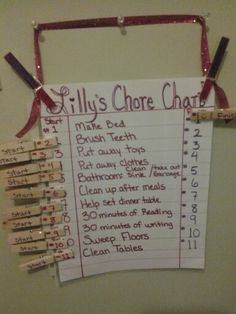 I made this reusable chore chart for my daughter. She added a few chores herself. She just turned 6yrs old. This was my answer to her not listening. Now if 1-9 isn't done everyday she is grounded the next day from friends. 10 and 11 are every other day chores. When I have time I want to make this typed and pretty but for now it works great