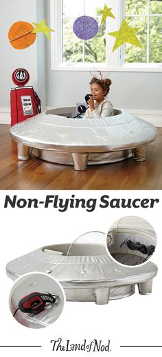 If you see mysterious lights in the sky, it probably isn't our Non-Flying Saucer. Because, while it may not be fit for flight, it does have all the classic UFO essentials, like a control center, removable windshield, gas cap and more. Plus, it's the perfect gift for any girl or boy that loves to play a little make-believe.