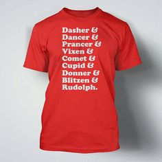Funny Reindeer Names Christmas TShirt Tee Shirt T by IceCreamTees, $14.99