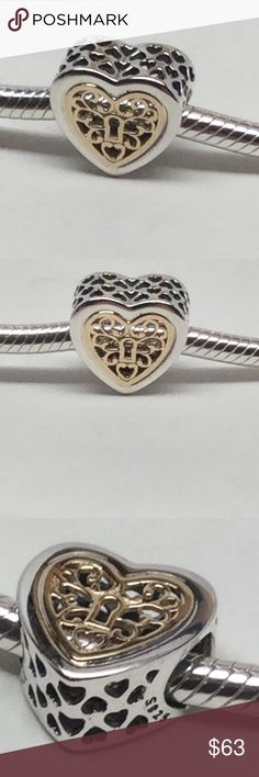 New Pandora Locked Heart 14 K This is a New Authentic Pandora Charm  Brand New Item! Ships in a Pandora Pouch or Pandora paper foldable box!  No Trades. Please.   All Hallmarked and properly stamped.  If any questions or concerns please drop me a note.   Thanks and Happy Shopping.   Oh, if you need anything special just let me know and I will do my best to get you what you want. Pandora Jewelry Bracelets
