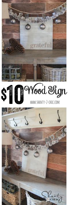 Simple DIY Wood Sign... So cheap and easy! Only uses two boards! www.shanty-2-chic.com