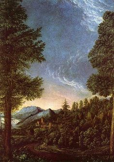 Albrecht Altdorfer (c.1480-1538), Danube landscape near Regensburg c. 1528, one of the earliest Western pure landscapes. He was the leader of the Danube School in southern Germany.