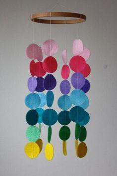 Rainbow Circle Mobile - Rainbow Crib Mobile - Baby Crib Mobile - Yellow Green Blue Purple Pink Felt - Modern Nursery