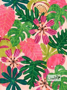 Impresión de la selva Ilustración arte de pared poster