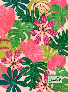 Modern Jungle Print illustration wall art by Chulart on Etsy Art Tropical, Tropical Design, Motif Floral, Floral Prints, Art Prints, Art Floral, Illustration Jungle, Atelier Theme, Jungle Print