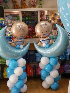 colonne di palloncini  con luna e bebe