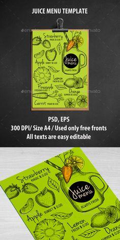 Juice Bar Menu Template - Food Menus Print Templates Download here : https://graphicriver.net/item/juice-bar-menu-template/16963365?s_rank=263&ref=Al-fatih