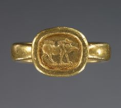 Ring with engraved bezel; Unknown; Greece (?); 525 - 400 B.C.; Gold; 1.4 x 1.2 x 0.2 cm (9/16 x 1/2 x 1/8 in.); 85.AM.274
