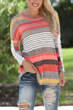 Random Color Block Stripe T-shirt With Lace Sleeves from mobile - US$13.95 -YOINS