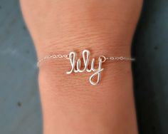 Name Bracelet Sterling Silver Bracelet Small Name Personalized Bridesmaid gifts Girlfriend gifts. $28.00, via Etsy.
