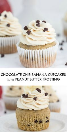 A moist banana cupcake is dotted with mini chocolate chips and topped with a sweet peanut butter frosting ~ http://blahnikbaker.com