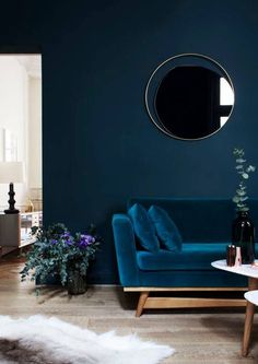 Get the look with Dunn-Edwards Paints color in Dark & Stormy DET572 for your walls. Monochrome design scheme - a deep sea blue extends from the walls to the focal furnishings.