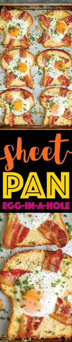 Sheet Pan Egg-in-a-Hole - A quick classic that comes together right on a sheet pan! Less mess, less fuss and just way easier than the stovetop version! Use 45 calorie bread and uncured bacon. Easy Soup Recipes, Egg Recipes, Brunch Recipes, Cooking Recipes, Budget Cooking, Food Budget, Simple Recipes, Recipes Dinner, Yummy Recipes