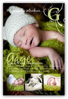 Baby Boy or Girl Customizable four picture fancy Birth (4x6 or 5x7) Announcement Photo Card Design. $16.00, via Etsy.