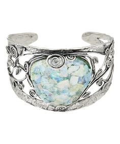 This Roman Glass & Sterling Silver Heart Cuff is perfect! #zulilyfinds