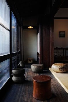 """thebeginningofsimplicity: """" -beautiful handcrafted chairs in old house in Tokyo. Would love to have them all in my house as well. """""""