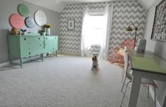 Modern Chevron Wall Stencil | Project by Decor and the Dog