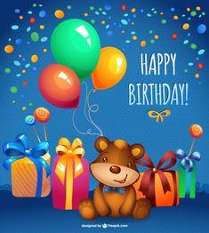 Vector teddy bear birthday card Free Vector