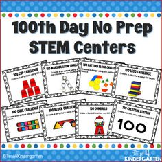 Day of School No Prep Stem Activities for a fun and engaging day. Take the stress out of the day of school, sit back and relax while your students work together creating cup towers, block structures, pattern block designs and more. 100 Days Of School Centers, 100th Day Of School Crafts, 100 Day Of School Project, School Projects, School Ideas, Kindergarten Stem, Kindergarten Graduation, Kindergarten Projects, Preschool