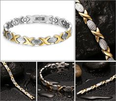 Beautiful bracelet stainless steel for women - Magnetic - Color gold and silver - FASHION - windth : 0.6 cm length : 21.6 cm