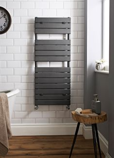 The Hudson Reed flat panel heated towel rail will look great in any modern bathroom Flat Panel Radiators, Black Radiators, Modern Radiators, Black Towel Rail, Black Towels, Grey Bathrooms, Modern Bathroom, Small Bathroom, Bathroom Ideas