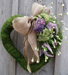 Beautiful moss heart with burlap. Denise's Window Box