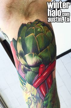 Artichoke and Peppers Tattoo by Chris Hedlund watercolor tattoo tattoos best artist art illustration illustrator realistic realism drawing painting colorful austin tx texas georgetown pflugerville round rock taylor san antonio san marcos Best Artist, Artist Art, Round Rock, Watercolor Tattoo, Illustration Art, Ink, Austin Tx, Artichoke, Tattoos
