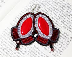 Flamenco Hand Embroidered Soutache Earrings - Best Valentine's Gift. $35.00, via Etsy.
