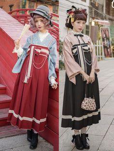 Hakama with of lolita kei Japanese Street Fashion, Tokyo Fashion, Harajuku Fashion, Kawaii Fashion, Lolita Fashion, Cute Fashion, Asian Fashion, Fashion Outfits, Emo Fashion